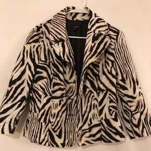 Rafaella zebra print jacket sz. Medium